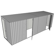 Build-a-Shed 1.5 x 6 x 2m Sliding Door Tunnel Shed with 2 Hinged Side Doors - Zinc