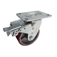 Move It 125mm 410kg Red Polyurethane on Cast Iron Swivel Plate with Brake Castor