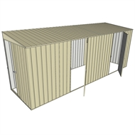 Build-a-Shed 1.5 x 5.2 x 2m Sliding Door Tunnel Shed with 2 Hinged Side Doors - Cream