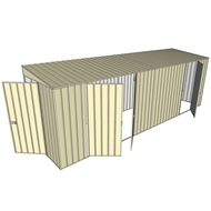 Build-a-Shed 1.5 x 6 x 2m Hinged Door Tunnel Shed with 3 Hinged Side Doors - Cream