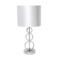 Light Table Lamp Chase Cafe 43cm Chrome Base/wte Sde 11329