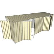 Build-a-Shed 1.5 x 6 x 2m Hinged Door Tunnel Shed with 2 Double Hinged Side Doors - Cream