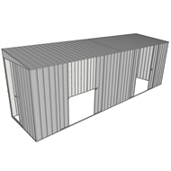 Build-a-Shed 1.5 x 6 x 2m Sliding Door Tunnel Shed with 2 Double Sliding Side Doors - Zinc