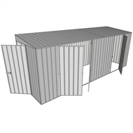 Build-a-Shed 1.5 x 5.2 x 2m Hinged Door Tunnel Shed with 3 Hinged Side Doors - Zinc