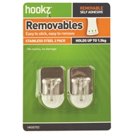 Hookz Small Square Stainless Steel Adhesive Hooks - 2 Pack