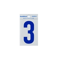 Sandleford 65mm Blue Reflective Self Adhesive Numeral 3