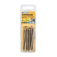 Zenith 8g x 65mm Countersunk Ribbed Head Chipboard Screws - 18 Pack