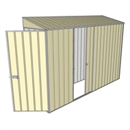 Build-a-Shed 0.8 x 3 x 2m Hinged Door Tunnel Shed with Single Sliding Side Door - Cream