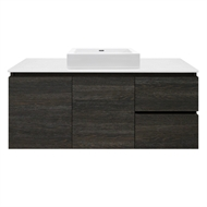 Forme 1200mm Whitestone / Dark Oak Parclane Square Basin Wall Hung Vanity