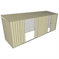 Build-a-Shed 1.5 x 5.2 x 2m Double and Single Sliding Side Door Skillion Shed - Cream