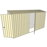 Build-a-Shed 0.8 x 3.7 x 2m Hinged Door Tunnel Shed with Single Hinged Side Door - Cream