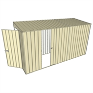 Build-A-Shed 1.2 x 3.7 x 2.0m Zinc Skillion Single Sliding Side Door Shed - Cream