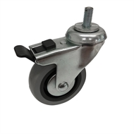 Easyroll 75mm 45kg Grey Rubber Swivel Plus Brake Castor