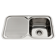 Everhard 780mm NuGleam Single Bowl Right Hand Kitchen Sink With Drainer