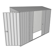 Build-a-Shed 0.8 x 3 x 2m Single Hinged Door Shed with Double Sliding Side Doors - Zinc
