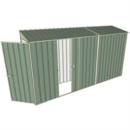 Build-a-Shed 0.8 x 3.7 x 2m Tunnel Hinged Door Shed with Single Sliding Side Door - Green