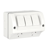 Deta 240V 10 Amp Double Outlet Outdoor Powerpoint With Extra Switch