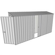 Build-a-Shed 0.8 x 3.7 x 2m Hinged Door Tunnel Shed with Single Sliding Side Door - Zinc
