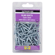 Otter 4.8 x 9.6mm Open Steel Blind Rivets - 100 Pack