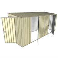 Build-a-Shed 1.5 x 4.5 x 2m Dual Single Hinged Side Door Skillion Shed - Cream