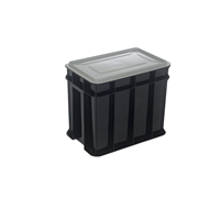Award 9L Black Multistack Storage Crate With Lid