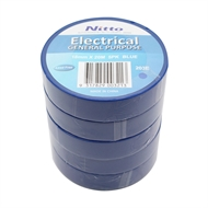 Nitto Denko 18mm x 20m Blue PVC Electrical Insulation Tape - 5 Pack