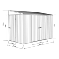 Garden Pro 3.00 x 1.52 x 2.08m Skillion Roof Three Door Bike Shed - Grey