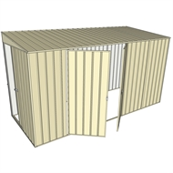 Build-a-Shed 1.5 x 3.7 x 2m Double Hinged Side Doors Skillion Shed - Cream