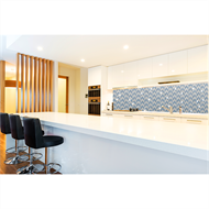 Bellessi 730 x 595 x 5mm Glass Splashback  - Herringbone