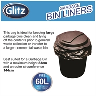 Glitz 60L Black Garbage Bags - 25 Pack