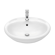Stylus White Symphony Semi Recessed Vanity Basin with 1 Tap Hole