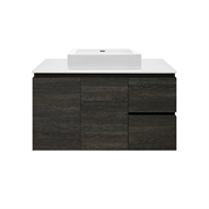 Forme 900mm Colourstone / Dark Oak Parclane Square Basin Wall Hung Vanity