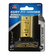 Zenith 50mm Brass Plated Fixed Pin Easy Fit Hinge - 2 Pack