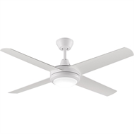 Threesixty 132cm White Aspire Ceiling Fan With LED Light