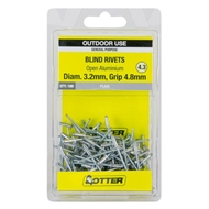Otter 3.2 x 4.8mm Open Aluminium Blind Rivets - 100 Pack