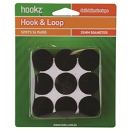 Hookz 25mm Black Round Hook And Loop Self Adhesive Spots