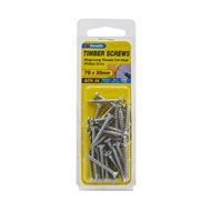 Zenith 7g x 30mm Zinc Plated Hinge-Long Thread Timber Screws - 30 Pack