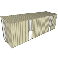 Build-a-Shed 1.5 x 6 x 2m Dual Sliding Side Door Skillion Shed - Cream