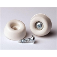 TIC 22mm White Rubber Screw on Bumper - 4 Pack