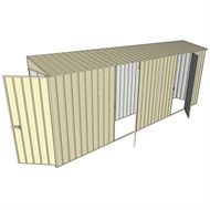 Build-a-Shed 0.8 x 5.2 x 2m Single Hinged Door Skillion Shed with Dual Single Hinged Side Doors - Cream
