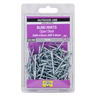 Otter 4.0 x 6.4mm Open Steel Blind Rivets - 100 Pack