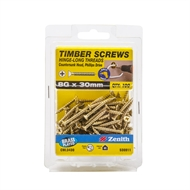 Zenith 8g x 30mm Brass Plated Hinge-Long Thread Countersunk Head Screw - 100 Pack