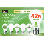 Brilliant 42W Warm White Bayonet B22 Halogen Globe - 6 Pack
