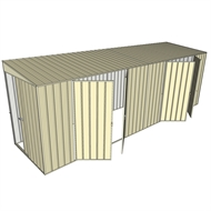 Build-a-Shed 1.5 x 6 x 2m Sliding Door Tunnel Shed with 2 Double Hinged Side Doors - Cream