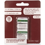 Solar Magic AA 600mAh 2/3 Ni-Mh Rechargeable Batteries - 4 Pack