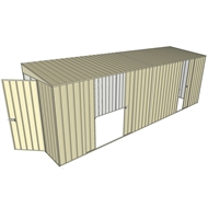 Build-a-Shed 1.5 x 6 x 2m Sliding Door Tunnel Shed with 3 Sliding Side Doors - Cream