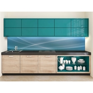 Bellessi 730 x 900 x 5mm Glass Textured Splashback  - Blue Horizon