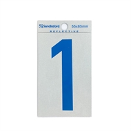 Sandleford 85 x 55mm 1 Blue Reflective Self Adhesive Numeral