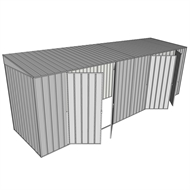 Build-a-Shed 1.5 x 6 x 2m Skillion Dual Double Hinged Side Doors Shed - Zinc