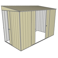 Build-a-Shed 1.5 x 3 x 2m Sliding Door Tunnel Shed with 2 Side Doors - Cream